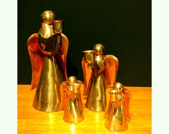 Vintage Mid Century Brass and Copper Angel Candle Holders Set of 4 Christmas Table Decor
