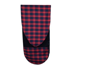 Surfboard Bag in Red & Blue Plaid - Surfboard Sock with Zipper or Drawstring Closure and Easy Slide Wax Repellent Interior