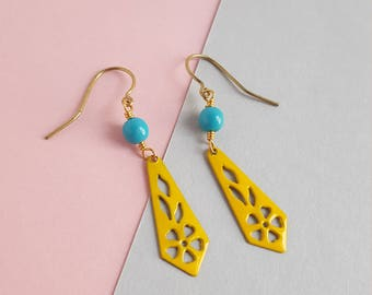 Vintage brass yellow and turquoise dangle earrings