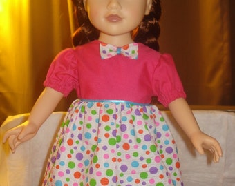 Pink and colorful polka dot full dress for 18 inch Dolls - ag187
