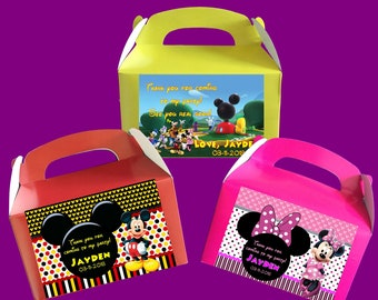 Personalized Mickey Mouse Cubhouse / Mickey Mouse / Minnie Mouse Treat Boxes, Goodie Bags, Party Favors