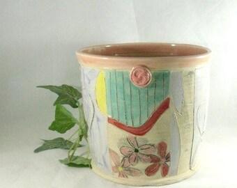 Ceramic wine chiller, kitchen Utensil holder, ice bucket, planter Vase, Wedding Gift, Wine accessory, home decor, 9th Anniversary Gift