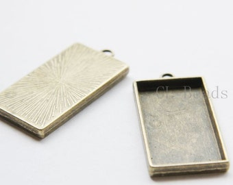 4pcs Antique Brass Tone Base Metal Bezel Pendant-Rectangle 48x24x4mm (13370Y-P-233B)