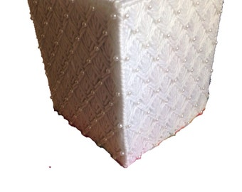 Wedding Tissue Box Cover, White Beaded Tissue Topper, White Tissue Cozy in Plastic Canvas