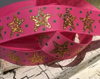 "3 yards 7/8"" Preppy Ocean Starfish gold foil on pink"