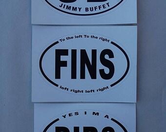 Jimmy Buffett Oval Sticker Set ( 3 Stickers) Parrothead Fins Up