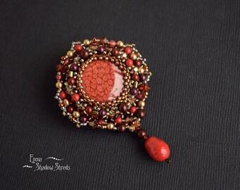 "Brooch ""Red terracotta"" Red Brooch Beaded Brooch Beadwork Brooch Jewelry Handmade Fancy Brooch Embroidered Brooch"