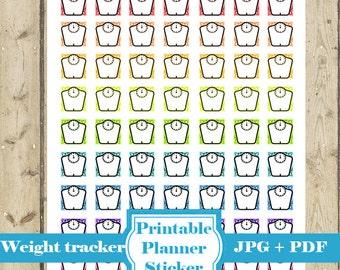 WEIGHT TRACKER Planner Sticker – Printable Planner Sticker Weight Icon Sticker Weight Mini Sticker Erin Condren Happy Planner DOWNLOAD