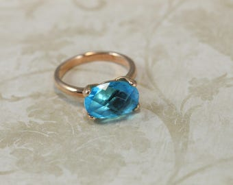 Blue Topaz Crystal Ring, Rose Gold or Silver plate Ring,  Italian Jewelry