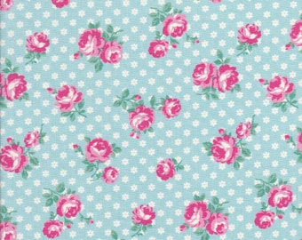 Atsuko Matsuyama Fabric - Rose Fabric -  Aqua Fabric - Small Floral Fabric - 30s Collection - Yuwa