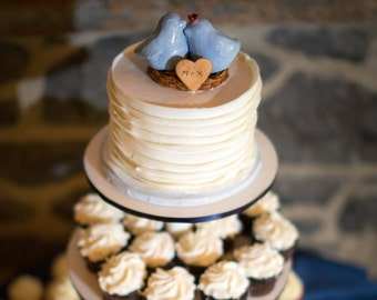 Customized Light Blue Love Bird Cake Topper