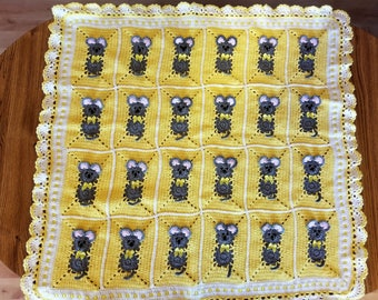 Crochet Yellow Baby Blanket with little mice for little boy or girl / Easter Bunny. Custom order avalable