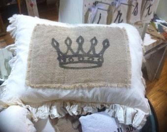 Burlap and Muslin Pillow Sham w/ simple Kings Crown design