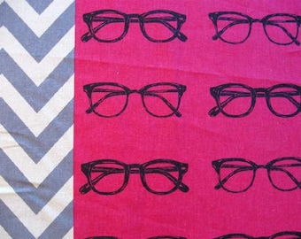 ECHINO Nico by Etsuko Furuya, 23 inches EF702 Berry Prink Glasses and Chevron Stripes, cotton linen fabric - end of bolt