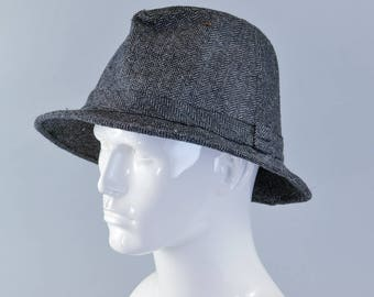 Vintage Men's Grey Wool Blend Fedora Trilby Hat Film Noir Medium 57cm 22""