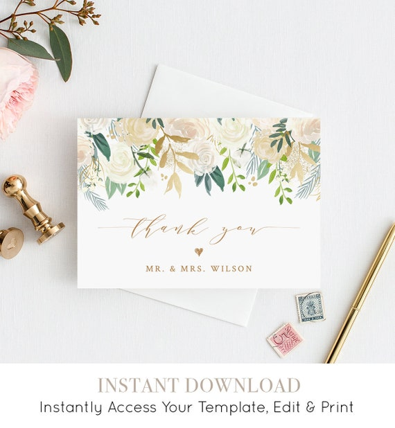 "Thank You Card Template, Printable Wedding / Bridal Shower Thank You, Folded Note Card, INSTANT DOWNLOAD, Self-Editing, 3.5""x5"" #021-105TYC"