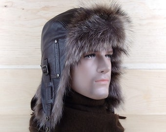 cf6498a8e16 Men s fur aviator Trapper Ushanka Hat Cap
