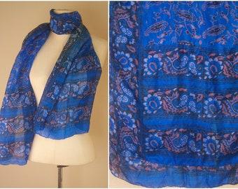 Indian batik paisley silk scarf / cobalt blue sheer boho scarf / long batik silk scarf / boho festival scarf, 66x19 inches
