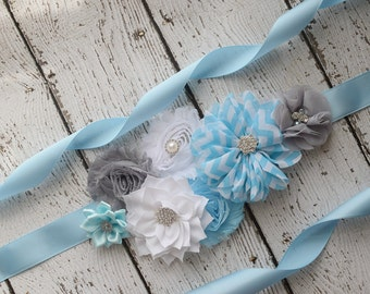 Flower Sash, light blue white  grey Sash  , flower Belt, maternity sash, flower girl sash