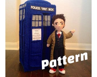 Tenth Doctor Who Time Travels doll and Police Box Amigurumi Crochet Patterns