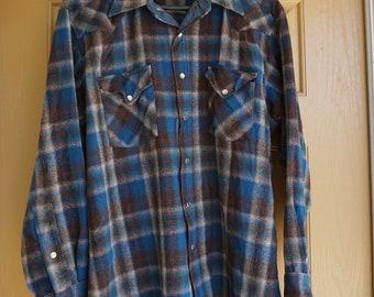 Board Shirt Jac 80s 90s Virgin wool size L Large Pendleton button up shirt warm rugged outerwear lumberjack nsrm0E