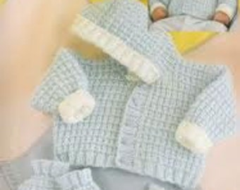 baby knitting pattern for   hooded  jacket mitts and booties  prem 10 in chest  toage  12m double knit