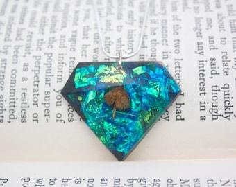 magik mushroom  in resin diamond pendant rainbow nature gypsy boho festival unique necklace