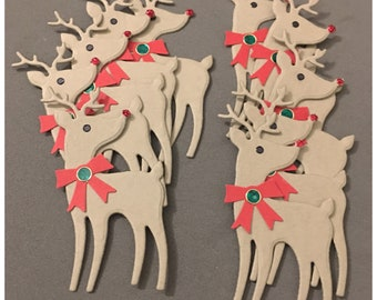 Handmade Reindeer Embellishments Rudolph Shiny Red Nose Gift Tags Christmas  Cards set of 10