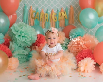 Birthday Tutu Dress Outfit | Baby Girls 1st Birthday Outfit | Cake Smash Dresses | Peach Gold Mint Birthday Party | Baby Shower Gifts