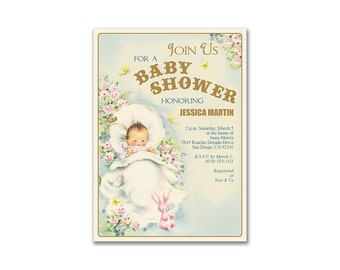 Vintage Baby Shower Invitation / printable shabby chic baby shower invite / neutral colors / editable PDF / personalize it yourself