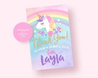 Unicorn Thank you Card. Unicorn Birthday Party. Unicorn Party Printables.