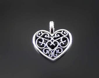 Heart charms silver heart charms  10 charms hollow silver embellished heart charms scrolled hollow heart charms