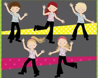 Digital Clip Art - Disco Party for Kids - Disco Children - Boys and Girls