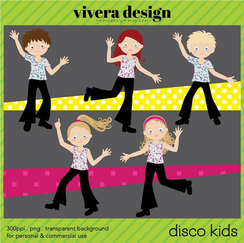 Digital Clip Art Disco Party For Kids Children