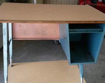 Vintage all steel school desks, Childrens desk, Student desk, All metal desk with neat original blue finish.