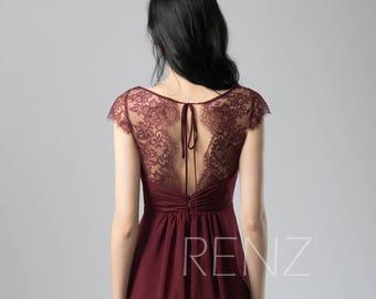 Bridesmaid Dress Wine Chiffon Dress,Wedding Dress,Cap Sleeves Party Dress,V Neck Maxi Dress,Lace Illusion Open Back Evening Dress(L417)