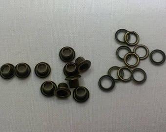 EYELET METAL BRONZE 4mm set of 10 units