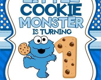 Cookie Monster birthday invitation digital file