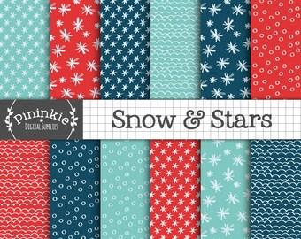 Christmas Digital Paper, Winter Digital Paper Pack, Snow Digital Background, Winter Digital Scrapbook Paper, Star, Snowflake, Commercial Use