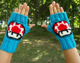 Super Mario Bros. Inspired Mushroom Fingerless Gloves - Nintendo Knit Comic Con Accessory - Blue Fingerless Gloves w Super Mario Mushroom