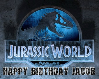 JURASSIC WORLD Park Dinosaur 1/4 Edible Frosting Icing Sheet Cake Topper Image Customized Personalized Birthday 1st Party Custom Decoration