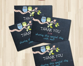 Instant  download Baby shower Owls Thank you card. DIY card. Chalkboard. 4 Digital Printable card 3,5x5inch