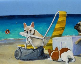 "French Bulldog Art Print/ ""Beach Picnic"" / 8 x 10 / Dog Art"