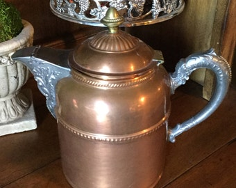 Copper/brass/pewter coffee pot from Rochester Stamping Works in Rochester, New York