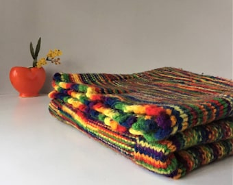 Rainbow Throw, Multicolor Knitted Blanket, Vintage Coverlet, 1970s Lap Robe, Small Boho Afghan