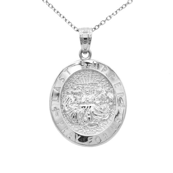 10k white gold last supper pendant with gold chain engraved aloadofball Image collections