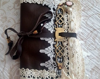 FREE with a purchase over 125.00-Leather&Lace Soft Fabric wallet, wrap around cord , All Supplies Are NEW! One of A Kind/valued at 55.00