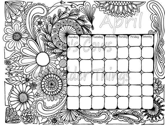 April Doodled Calendar Coloring Page