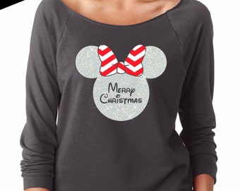 Disney Shirt GLITTER - Merry Christmas Minnie Mouse // Lightweight 3/4 length Off Shoulder Scoop // Mickey // Holiday // Adult (6951 grey)