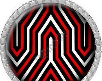 "Cabochon pendant - ""Red black white""-(144)"